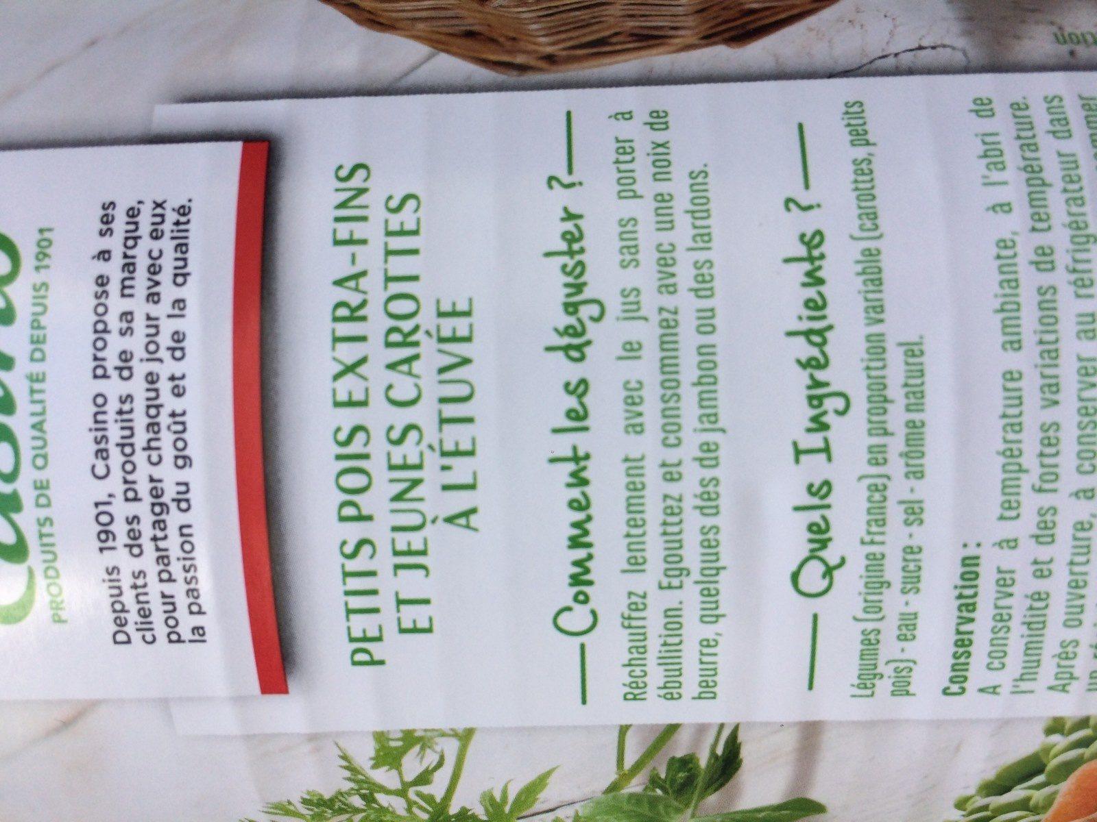 Petits pois extra-fins et jeunes carottes à l'étuvée - Ingrédients