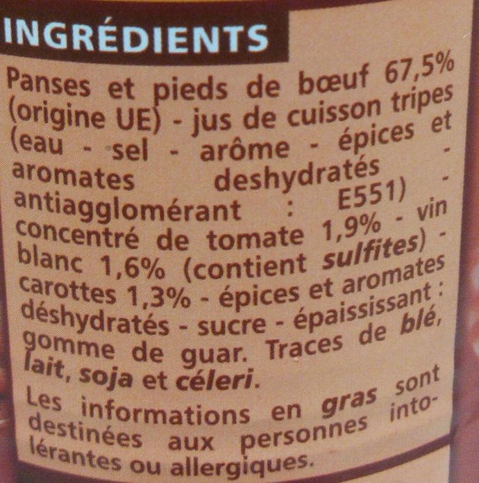 Tripes à la Tomate - Ingredients - fr