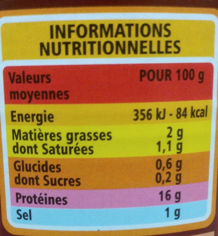 Tripes à la Tomate - Nutrition facts - fr