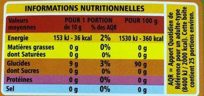 Tapioca Casino - Informations nutritionnelles