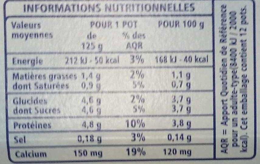 Le Nature - Nutrition facts