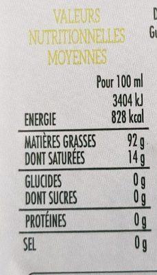 Huile d'olive - Informations nutritionnelles