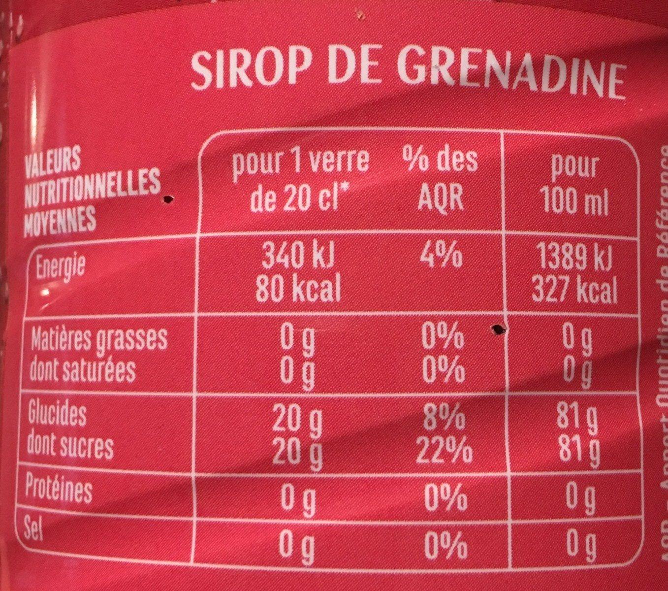 Sirop de Grenadine - Informations nutritionnelles - fr