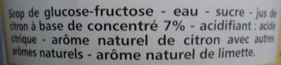 Sirop de Citron - Ingrédients - fr