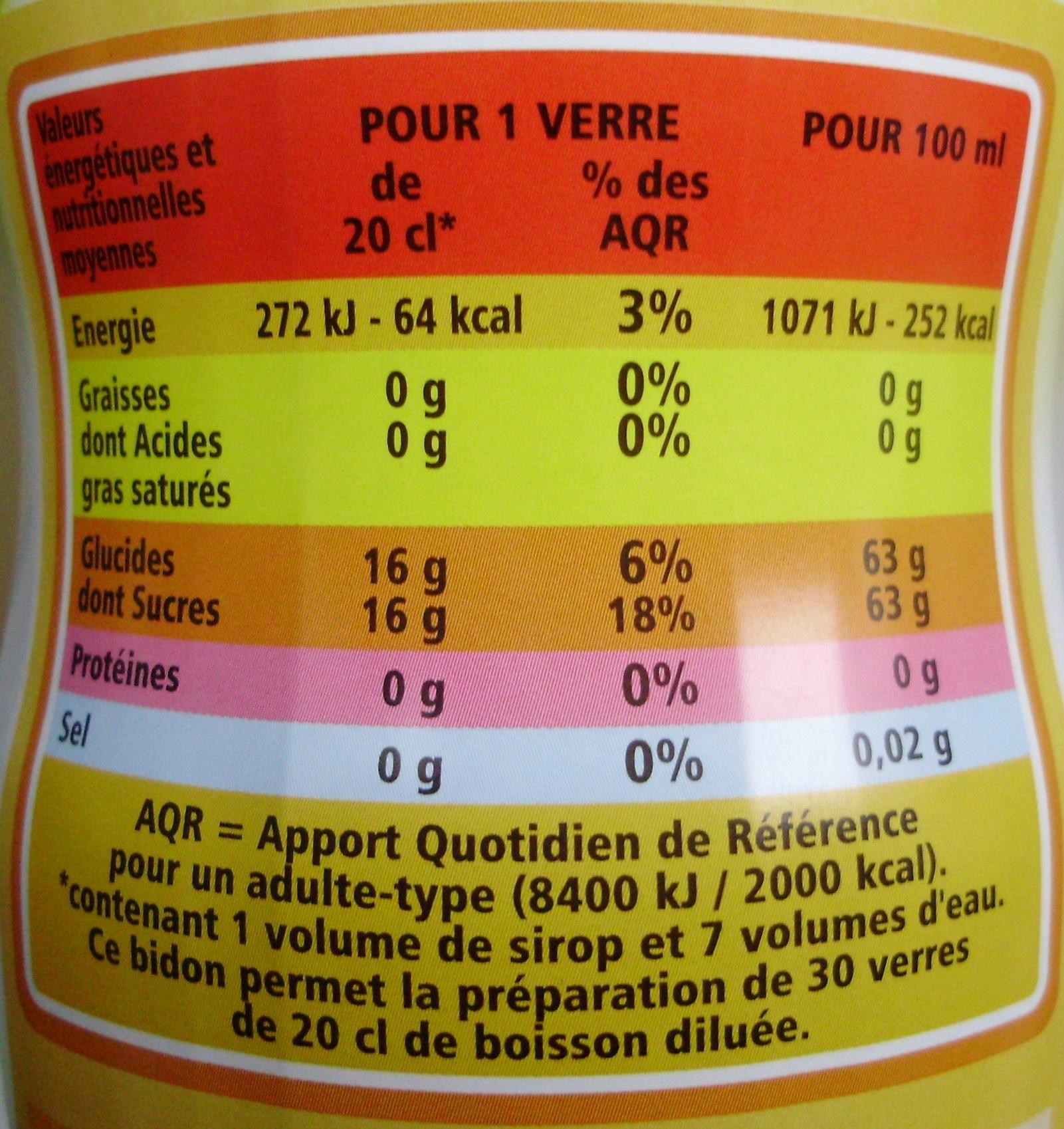 Sirop de Citron - Informations nutritionnelles - fr