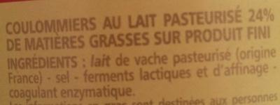 Coulommiers au lait pasteurisé - Ingredients - fr