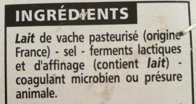 Camembert au lait pasteurisé - Ingrediënten - fr