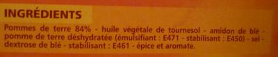 Pommes noisettes sans huile de palme - Ingrédients