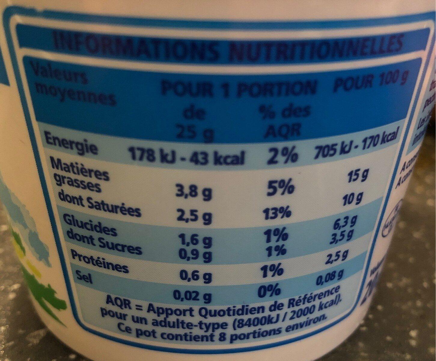 Crème fraîche épaisse légère 15% de mat. gr. - Voedingswaarden - fr
