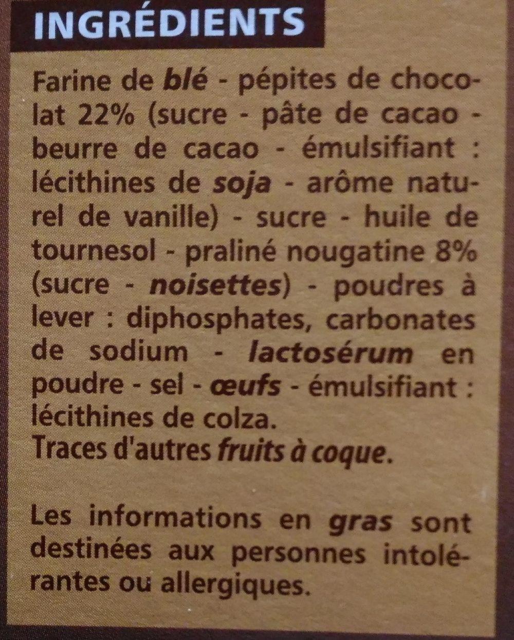 Cookies Pépites de Chocolat et Nougatine - Ingrédients