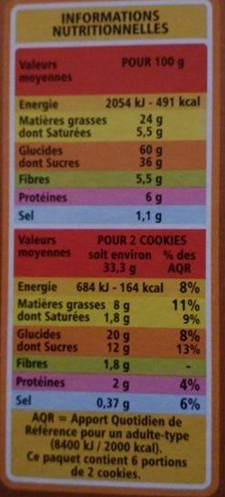 Cookies Pépites de Chocolat et Nougatine - Informations nutritionnelles