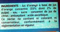 Nectar d'orange à base de jus concentré Teneur en fruits : 55 % minimum - Ingrédients - fr
