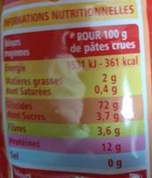 Torti - pâtes de qualité supérieure - Nutrition facts - fr