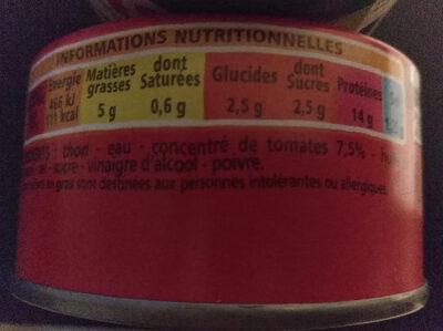 Miettes De Thon à La Tomate - Nutrition facts - fr