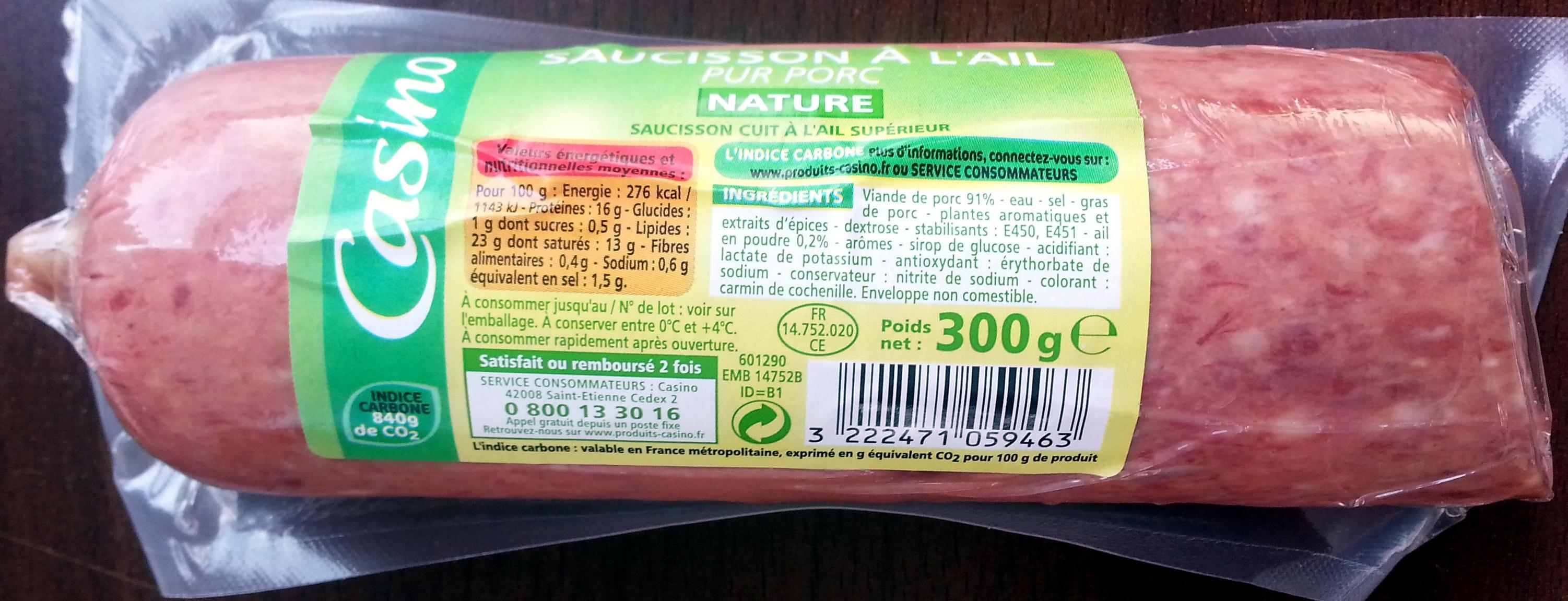 Saucisson à l'ail pur porc nature - Product - fr