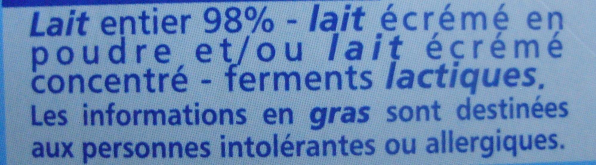 Yaourt au lait entier Nature (4 Pots) - Ingrédients - fr