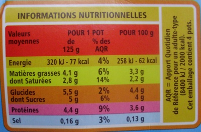 Yaourt au lait entier Nature (4 Pots) - Informations nutritionnelles - fr