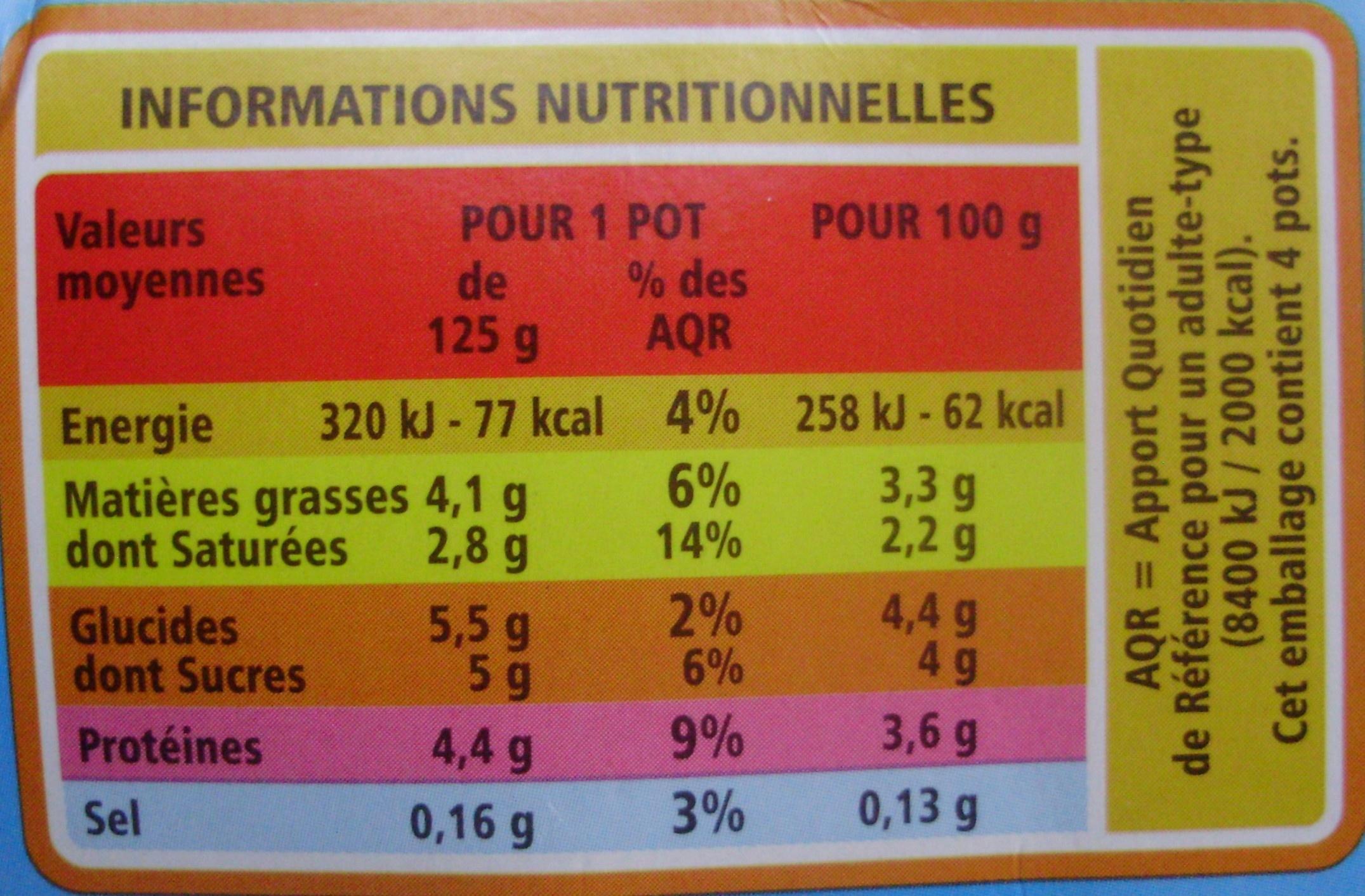 Yaourt au lait entier Nature (4 Pots) - Nutrition facts - fr