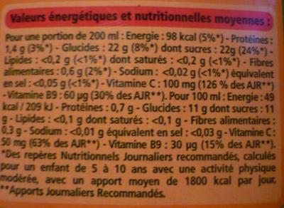Jus d'orange à base de concentré - Teneur en fruits : 100% - Informations nutritionnelles - fr