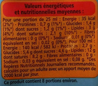 Crème fluide légère - 12% de matières grasses - Informations nutritionnelles