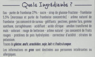 Sorbet framboise avec morceaux de framboise - Ingredients
