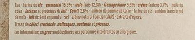 Tarte aux 3 fromages - Emmental, fromage blanc, Comté - Ingredients