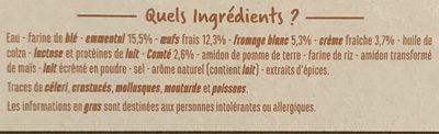 Tarte aux 3 fromages - Emmental, fromage blanc, Comté - Nutrition facts