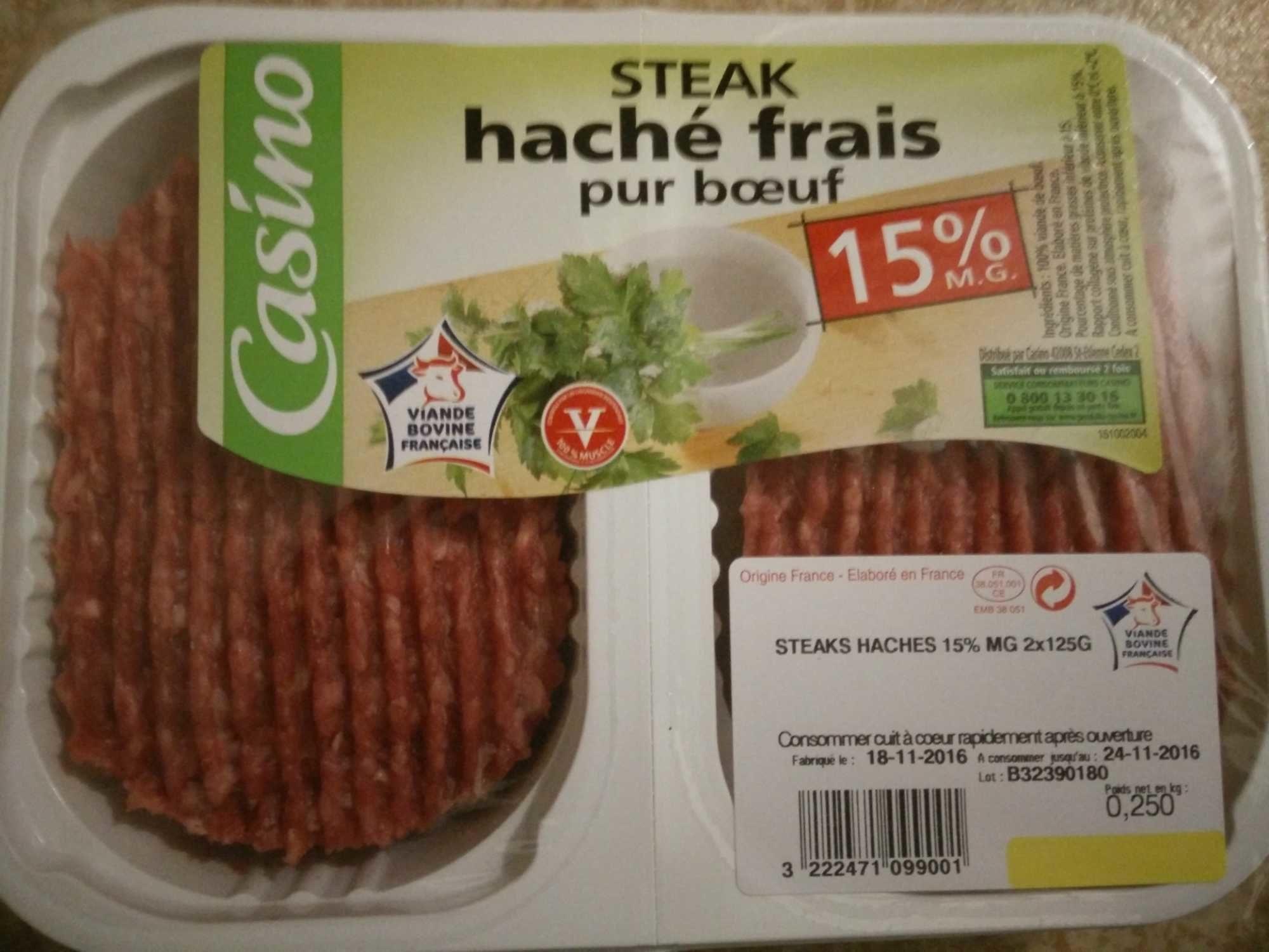 Steak haché frais pur bœuf (15 % MG) - Product