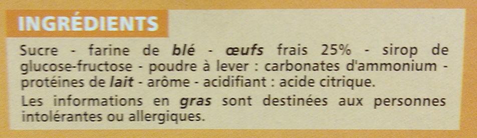 30 BOUDOIRS AUX OEUFS FRAIS - Ingrédients - fr