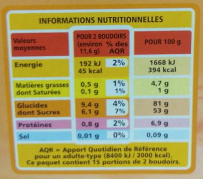 30 BOUDOIRS AUX OEUFS FRAIS - Informations nutritionnelles - fr