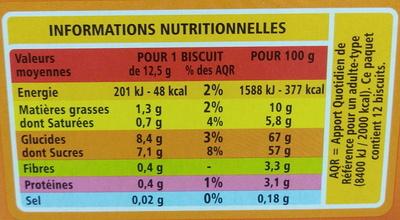 Génoise Fourrée Orange - Valori nutrizionali - fr
