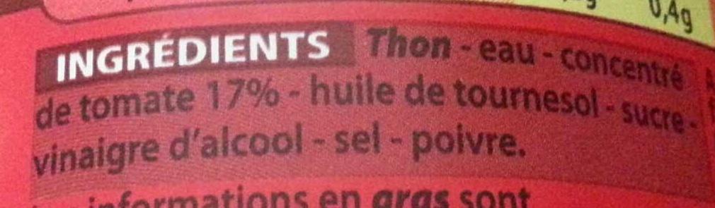 Miettes de thon à la tomate - Ingrediënten - fr