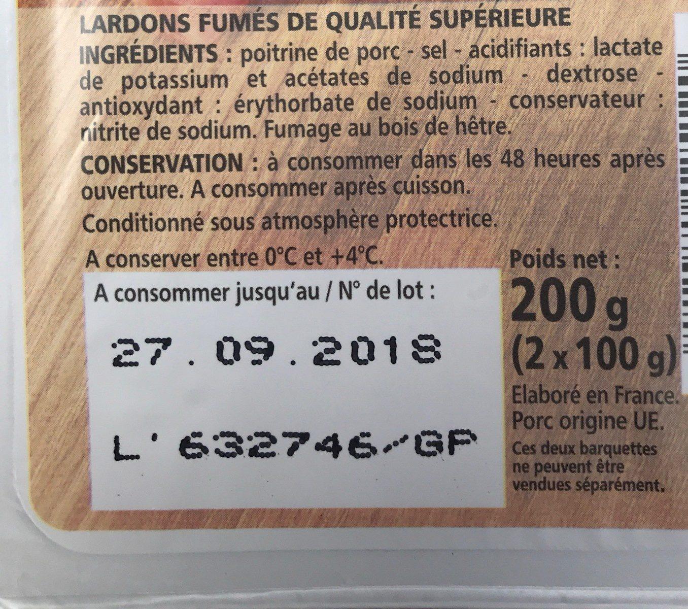 Lardons fumés - Ingrediënten