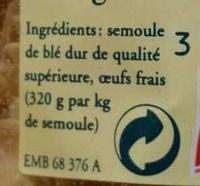 Les Pâtes d'Alsace Papillons (7 Œufs Frais au kilo) - Ingrédients - fr