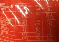 Emmental français - Nutrition facts