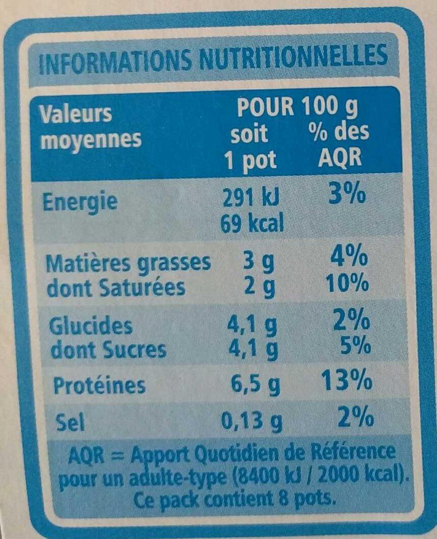 Fromage blanc velouté 3% de mat. gr. sur produit fini - Informations nutritionnelles - fr