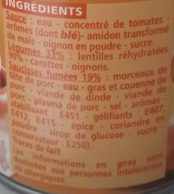 Saucisses lentilles 420g - Ingredients