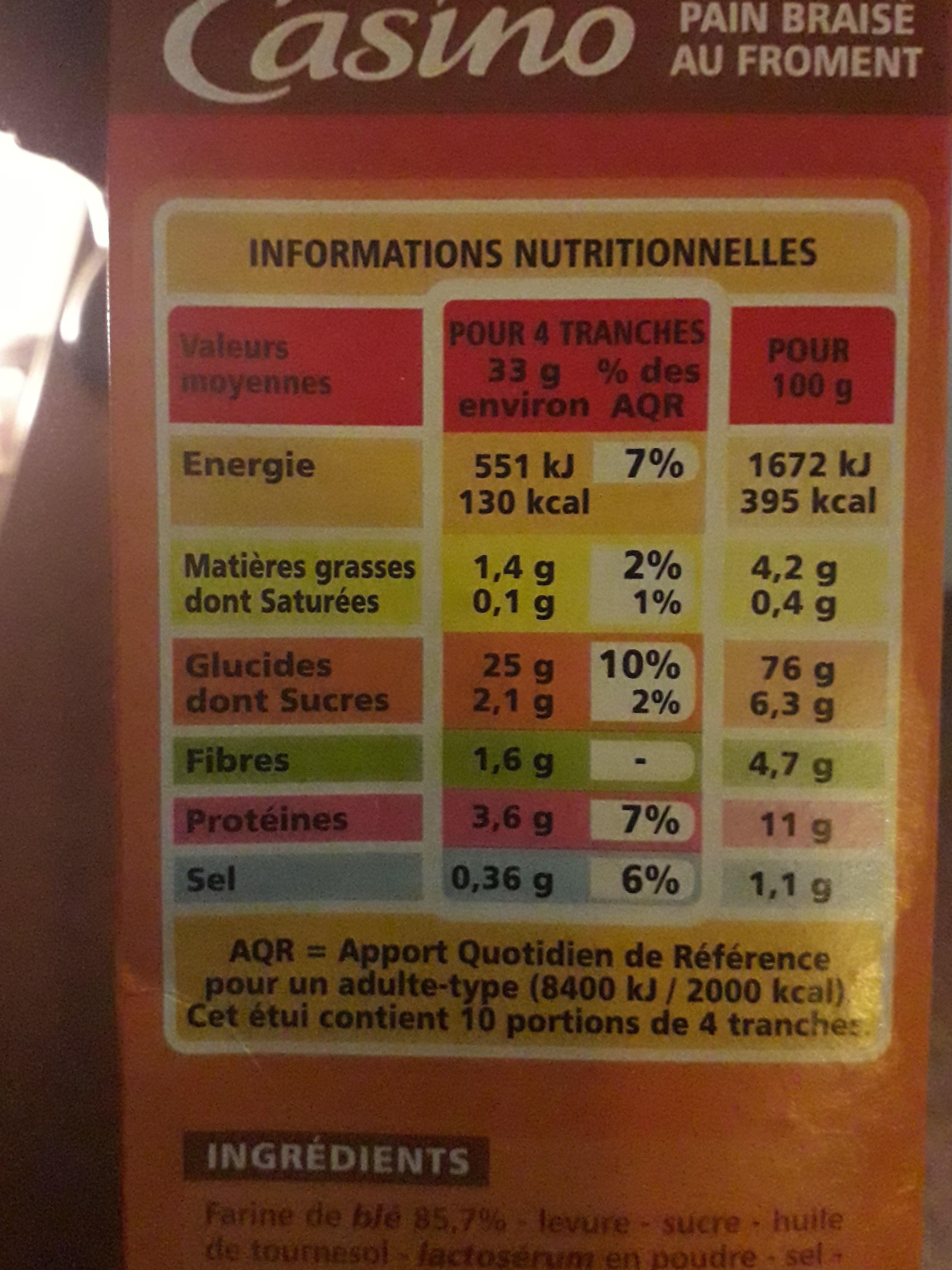 Pain braisé - Informations nutritionnelles
