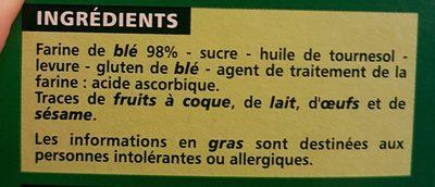 Biscottes très pauvres en sel - Ingredients - fr