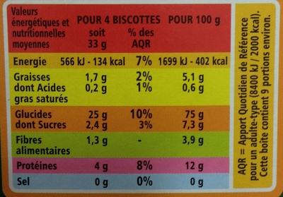 Biscottes très pauvres en sel - Nutrition facts - fr
