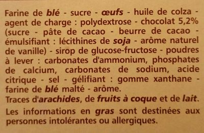 Marbré Chocolat - Ingrédients