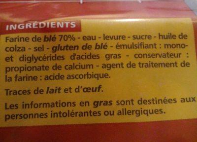 Pain de mie nature extra moelleux - Ingrediënten - fr