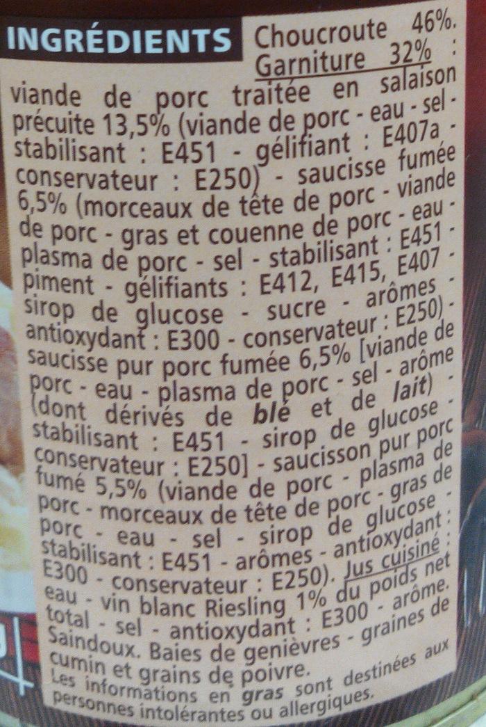 Choucroute royale au vin blanc - Ingrédients