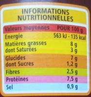 Saucisses aux lentilles à la graisse d'oie - Informations nutritionnelles