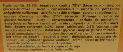 Cake aux fruits prétranché - Ingredients