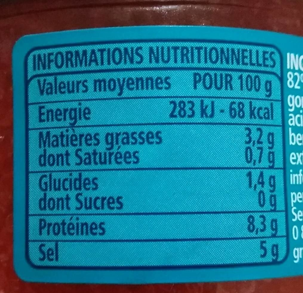 Œufs de lompe rouges - Voedingswaarden - fr