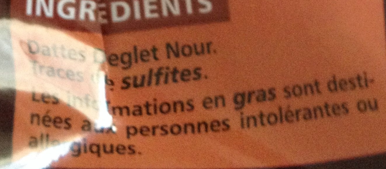 Dattes deglet nour - Ingredients - fr