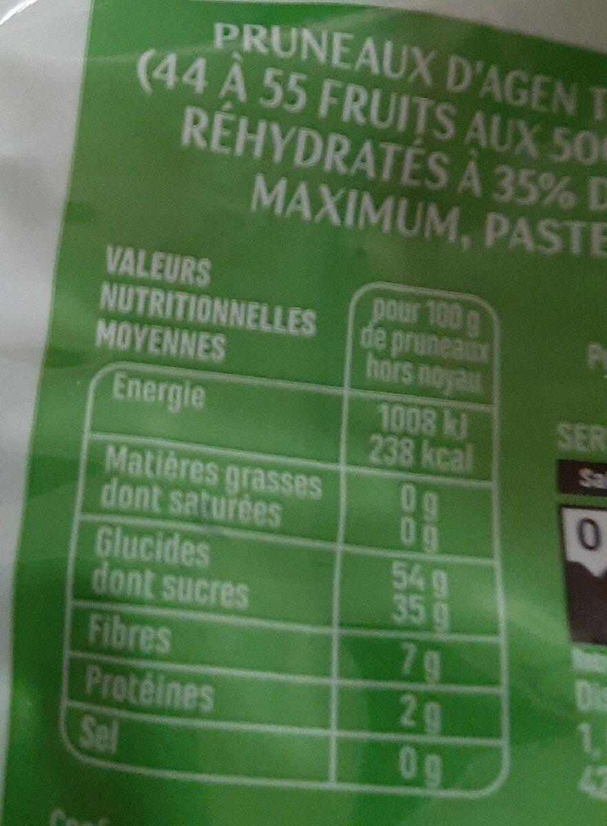 Pruneaux d'Agen. Tres gros pasteurisés - Nutrition facts - fr