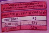 Raisins Sultanines sans pépin sans conservateur - Informations nutritionnelles - fr