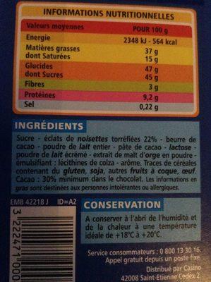 Chocolat au lait noisettes - Ingrédients - fr